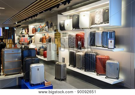 HONG KONG - MAY 05, 2015: bag store interior. Hong Kong shopping malls are some of the biggest and most impressive in the world