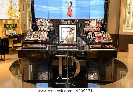 HONG KONG - MAY 05, 2015: Dior cosmetics boutique interior. Dior, is a French luxury goods company controlled and chaired by businessman Bernard Arnault