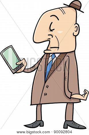 Senior With Smart Phone Cartoon