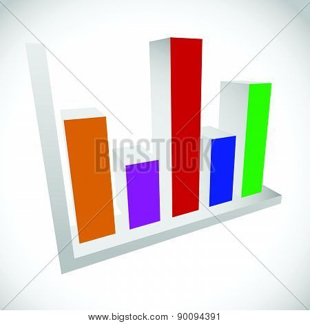 3D Bar Chart, Bar Graph, Diagram Element.