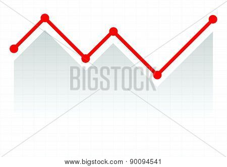 Line Graph Element. Graph, Chart Over Gridded Background. Vector.