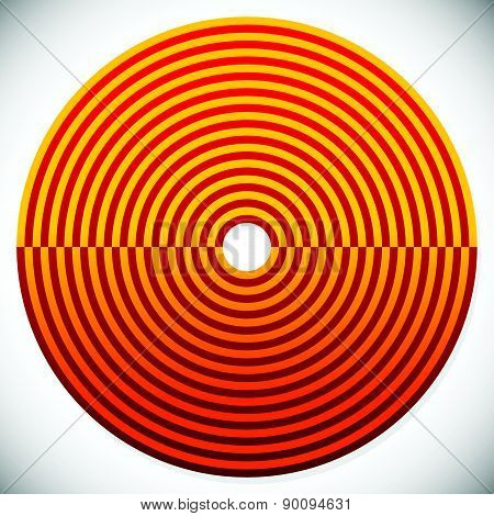 Abstract Red And Orange Circle Element. Vector.