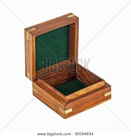 Wooden Box With Hinged Lid Open, Isolated On White Background.
