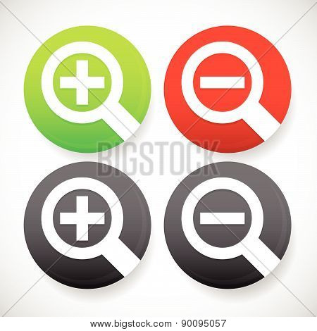 Circle Zoom In, Zoom Out Icons With Simple Magnifier Glass Symbols.