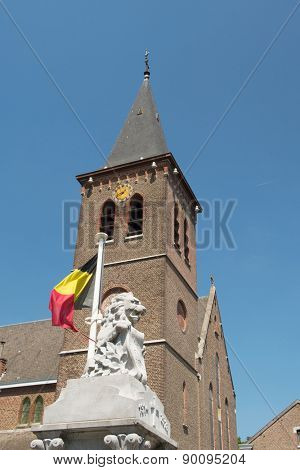 Monument with Lion and flag in Lanaye Belgium