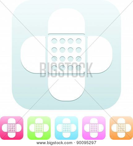 Icons With Adhesive Plaster Symbol In Different Colors