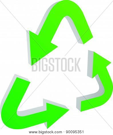 Recycle Arrow Symbol, Icon With Isolated On White
