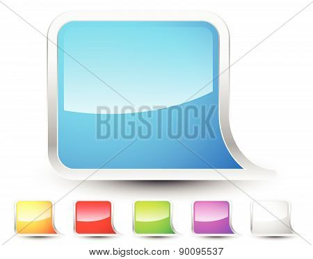 Glossy Abstract Speech, Talk Bubble Elements With Empty Space. Vector.