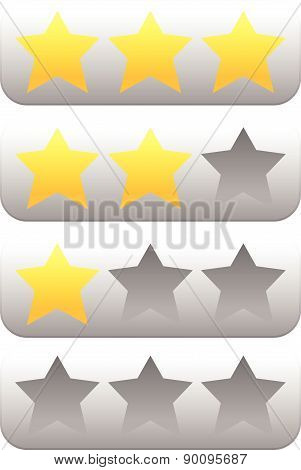 Star Rating Element With 3 Stars. Vector