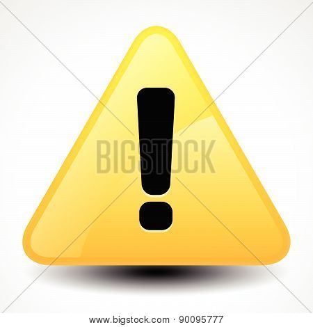 Yellow And Orange Warning, Attention, Caution Sign. Road Sign With Exclamation Point, Exclamation Ma
