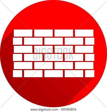 Red Icon With Brick Wall, Wall Symbol Casting Diagonal Shadow. Vector.