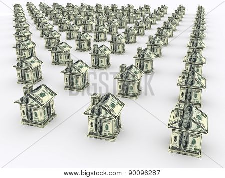 Many Houses From The Money. Business Concept