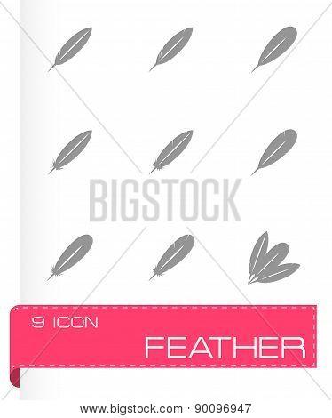 Vector black feather icon set