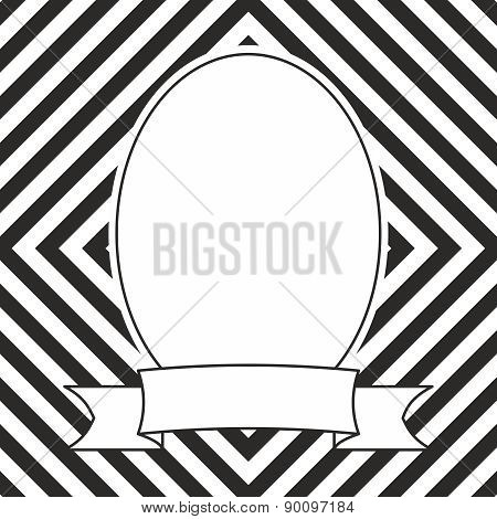 Hand drawn vector frame on black and white geometric background