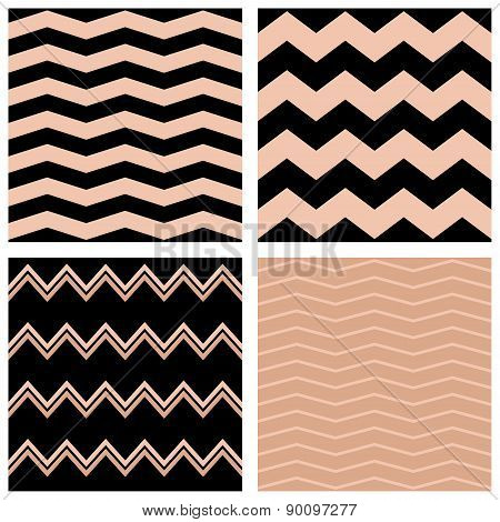 Tile pastel vector pattern set with black and pink zig zag background