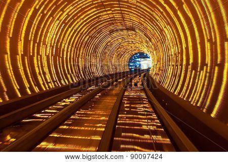 futuristic super speed traffic  blur motion in tunnel