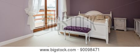 Purple Bedroom With White Furniture