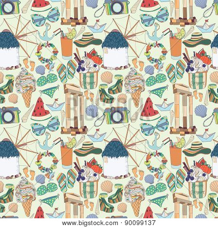 Travel to Greece Seamless Pattern.Summer vacation in Greece