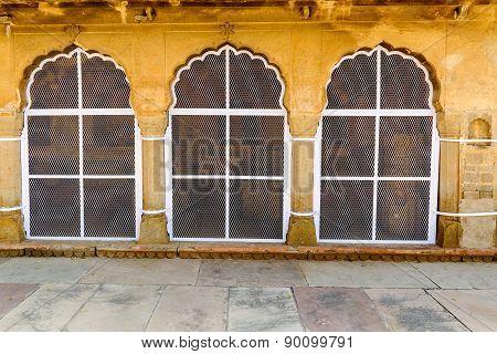 Traditional window decoration at Chand Baori stepwell