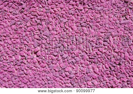 Pink Painted  Stone Mosaic On The Wall
