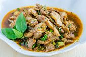 stock photo of thai cuisine  - Thai cuisine spicy pork salad - JPG