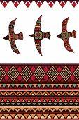 stock photo of tribal  - Vector seamless tribal pattern with rhombus - JPG