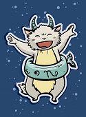 stock photo of capricorn  - zodiac sign baby birth capricorn vector illustration - JPG