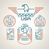 foto of eagles  - Made in the USA Symbol with  American flag and eagle Set of templates emblems - JPG