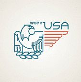 foto of eagle  - Made in the USA Symbol with American flag and eagle templates emblems - JPG