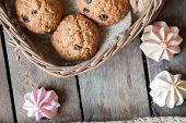 picture of baked raisin cookies  - Cookies in a basket - JPG