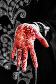 image of henna tattoo  - Henna hand tattoo body art tradition black and white mix - JPG