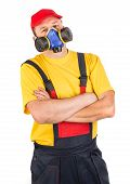 stock photo of respiration  - Worker in hat with respirator - JPG