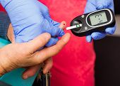 picture of diabetes mellitus  - Testing elderly man - JPG