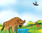 stock photo of hyenas  - Hyena and deers around the pond at daytime - JPG
