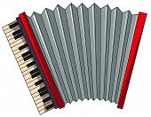 picture of accordion  - Close up plain red accordion - JPG