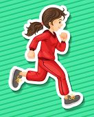 image of jumpsuits  - Happy girl in jumpsuit running alone - JPG