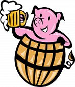 picture of beer mug  - illustration of a pig pork in barrel with beer mug isolated on white - JPG