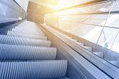 foto of escalator  - Modern interior with escalator close - JPG
