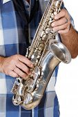 pic of saxophone player  - man playing the saxophone on a white background - JPG