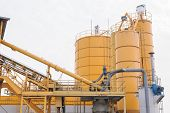 stock photo of silos  - Silos of plant for the production of the beton - JPG