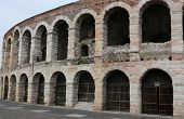 foto of arena  - exterior walls of the ancient Roman Arena in Verona in Italy - JPG