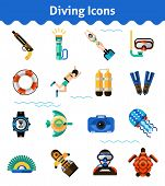 image of oxygen  - Scuba diving icons set with oxygen snorkel fish isolated vector illustration - JPG