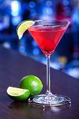 pic of cosmopolitan  - Cosmopolitan cocktail shot on a bar counter in a night club - JPG