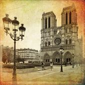 image of notre dame  - The Cathedral of Notre Dame de Paris in vintage style France - JPG