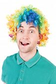 picture of clown face  - Portrait of a man in a clown wig - JPG