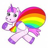 pic of unicorn  - Cartoon unicorn bearing rainbow bag - JPG