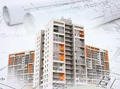 image of draft  - Colorful buildings on abstract background with drafts - JPG