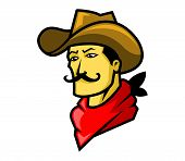 stock photo of raider  - A vector illustration of cowboy head  - JPG