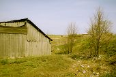 stock photo of ravines  - Shed on a ravine somewhere in the Russian province - JPG
