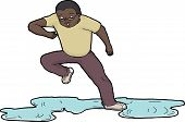 picture of scared  - Isolated cartoon of scared man slipping on wet floor - JPG